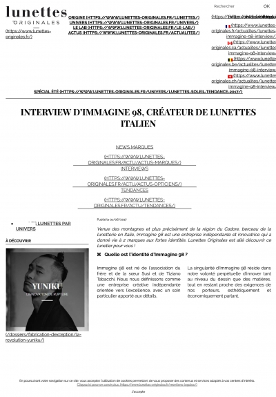 Interview d'Immagine 98 _ créateur de lunettes italien p1