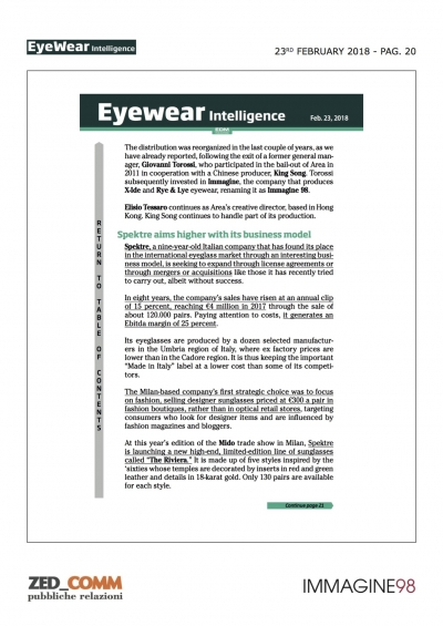 EYEWEAR INTELLIGENCE P.20